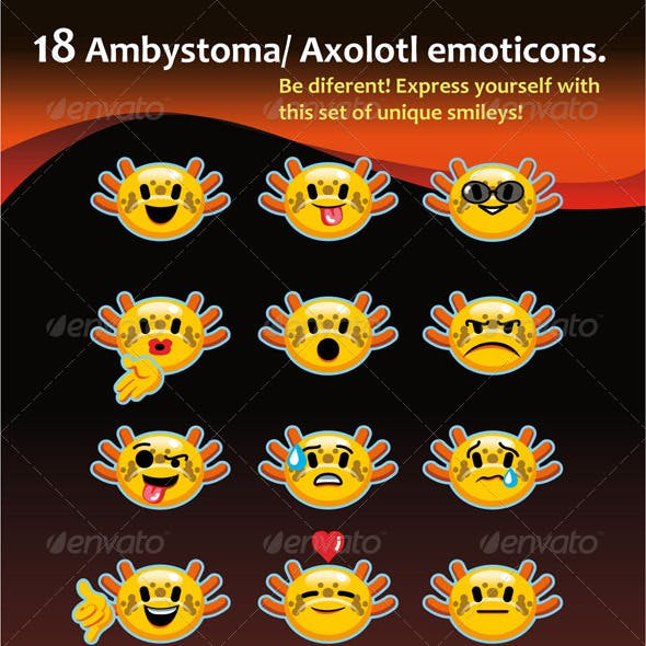 Emoticons Inspired in Ambystoma / Axolotl.