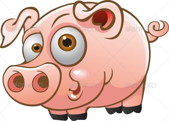Vector Young Pig - Animals Characters