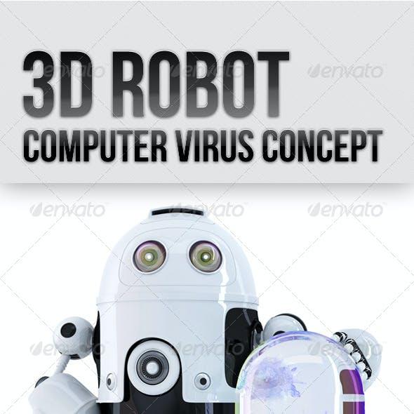 3D Robot. Computer Virus Concept