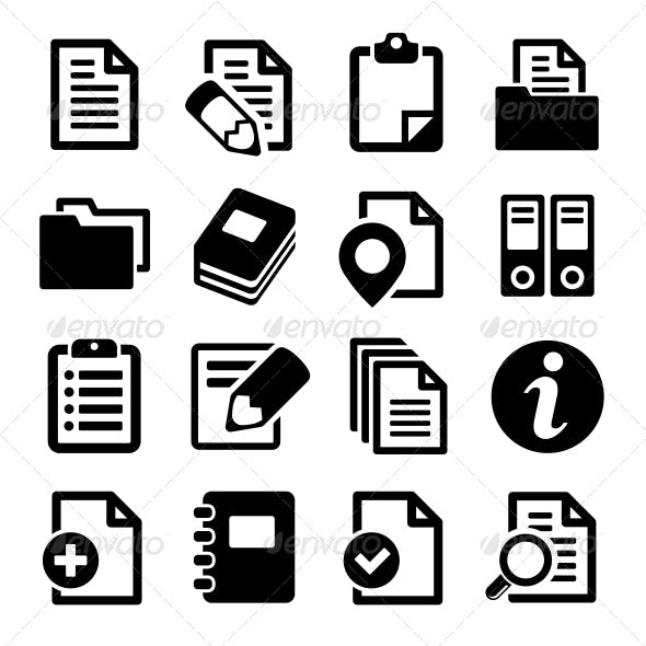 Documents and Folders Icons Set