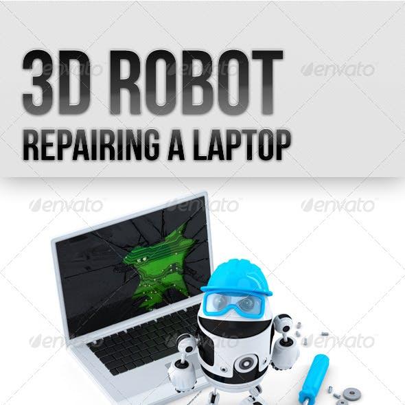 3D Robot Repairing Laptop