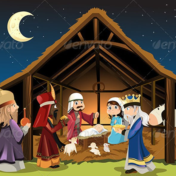 Jesus Christ and Three Wisemen