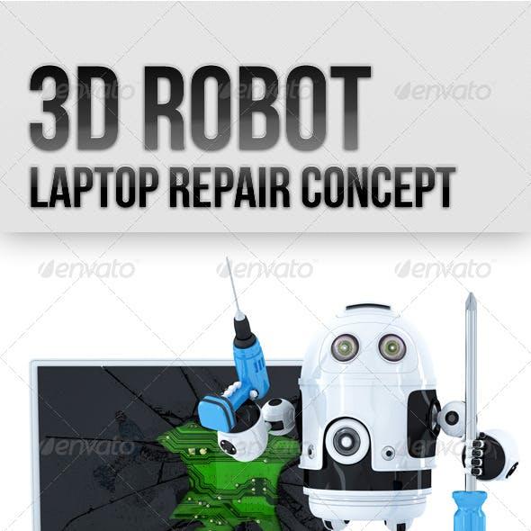 3D Robot with Broken Laptop