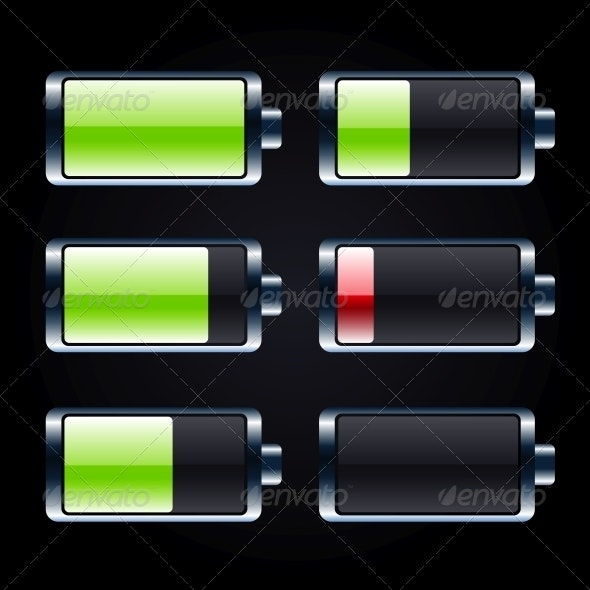 Glossy Battery Icons Set - Technology Icons