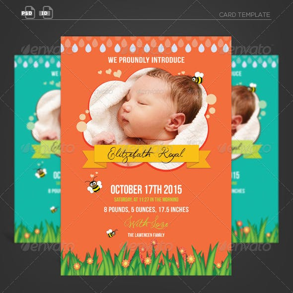 Spring Blossoming-Baby Announcement Card
