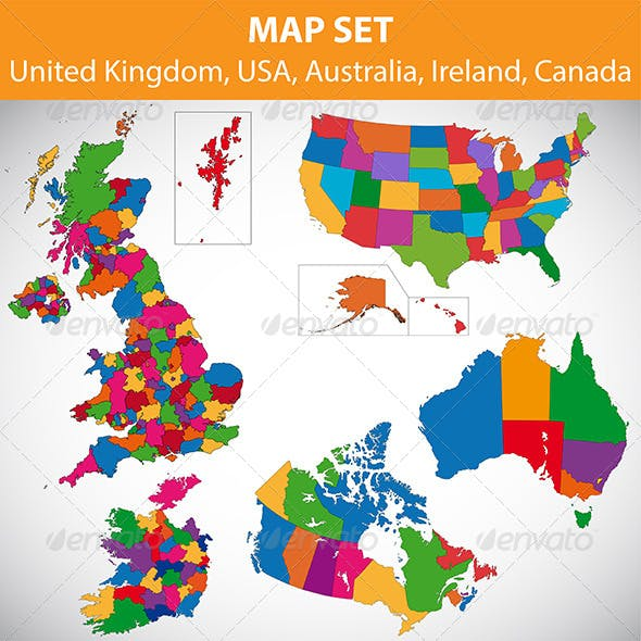 Map set - UK, USA, Canada, Australia, Ireland
