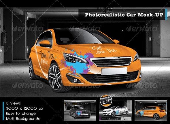 Photorealistic Car Mock-Up - Vehicle Wraps Print