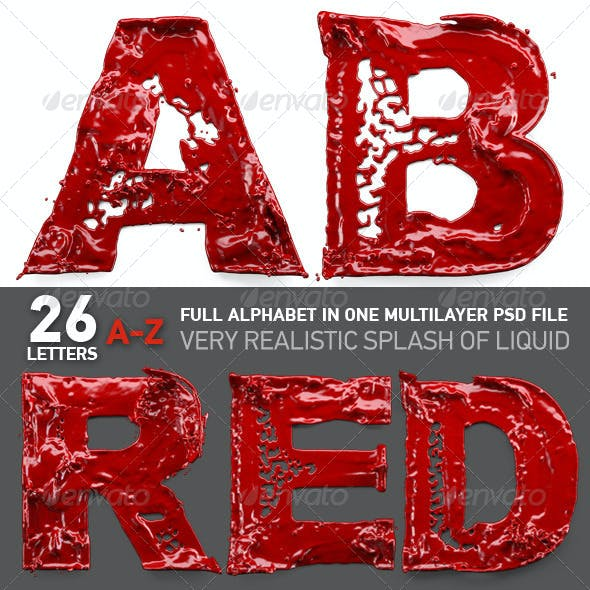 Spilled Red Paint Stuck in the Letters