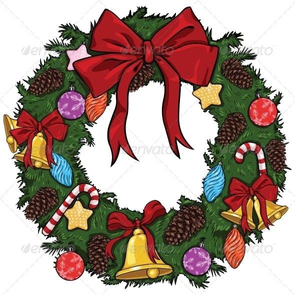 Vector Cartoon Christmas Wreath By Nikiteev Graphicriver