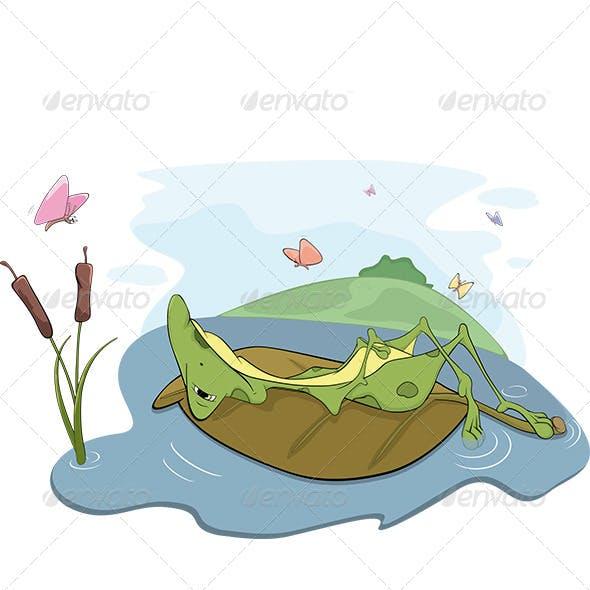 Frog on a Bog Cartoon