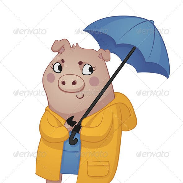 Cartoon Pig in Rain Gear