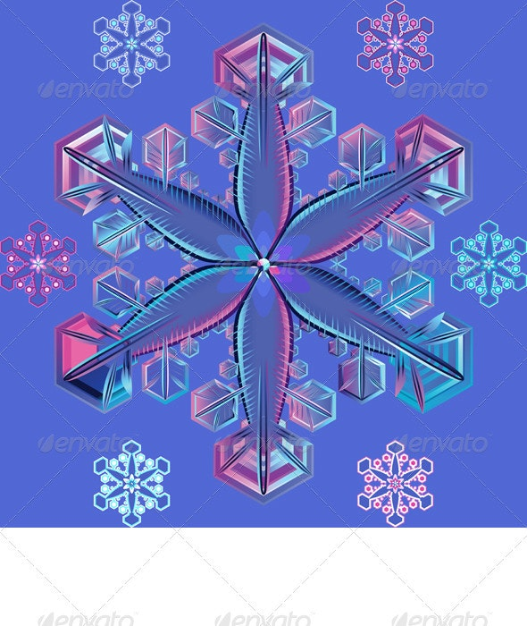 Vector blue transparent snowflake - Decorative Symbols Decorative