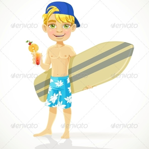 Teen Boy with Drink in a Glass - People Characters