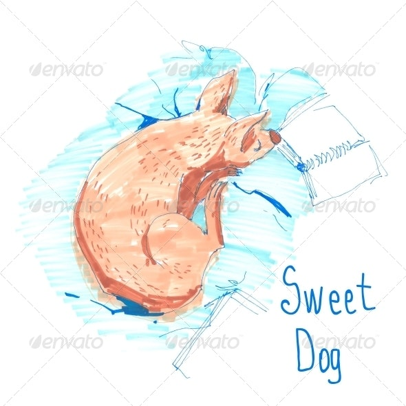 Sleeping Dog, Sketch, Greeting Card - Patterns Decorative