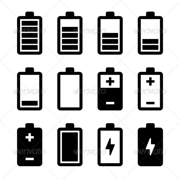 Battery Icons Set - Technology Icons
