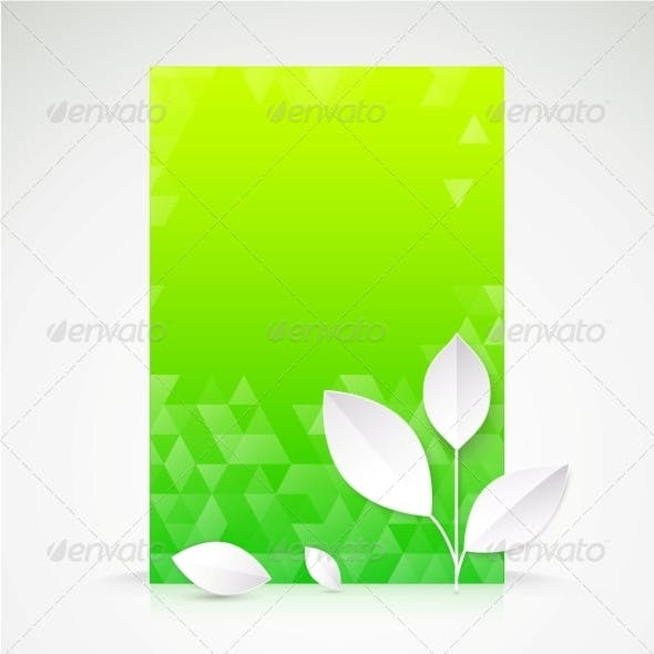 Green Paper Leaf, Abstract Wallpaper.