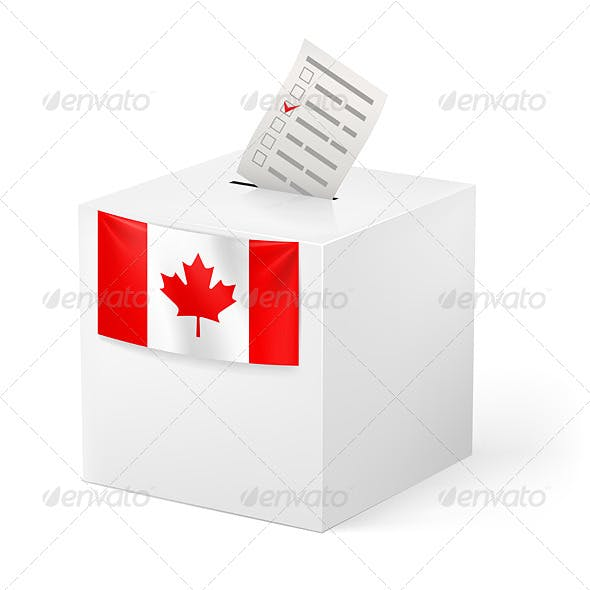 Ballot Box with Voicing Paper. Canada.