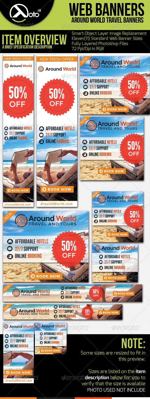 Around World Travel Web Banners - Banners & Ads Web Elements