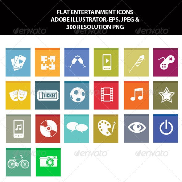 Flat Entertainment Icons