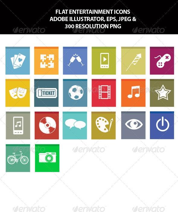 Flat Entertainment Icons - Media Icons