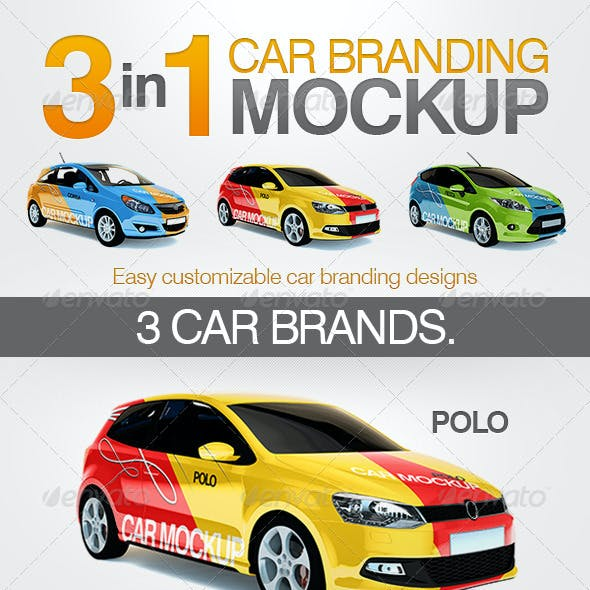 3in1 Car Branding Mock Up