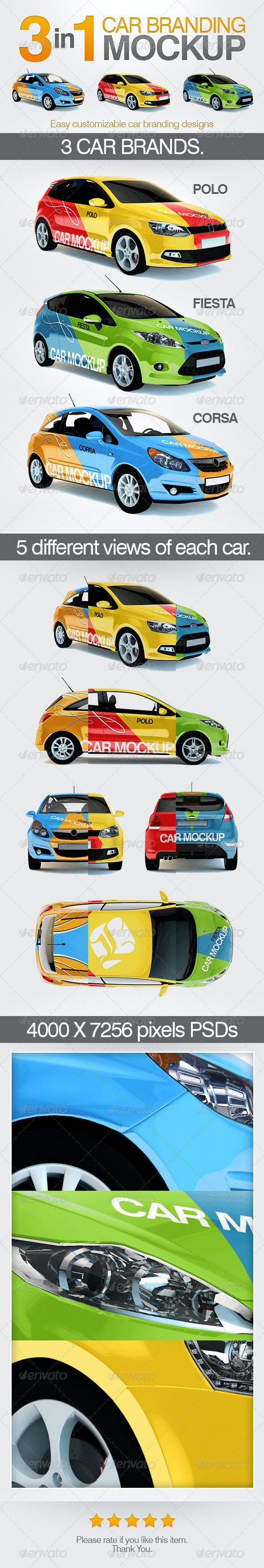 3in1 Car Branding Mock Up - Vehicle Wraps Print