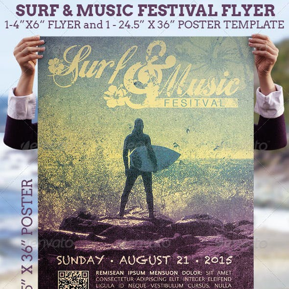 Surf Music Festival Flyer Plus Poster Template
