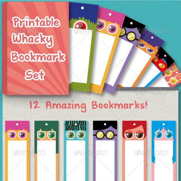 12 Whacky Bookmark Set