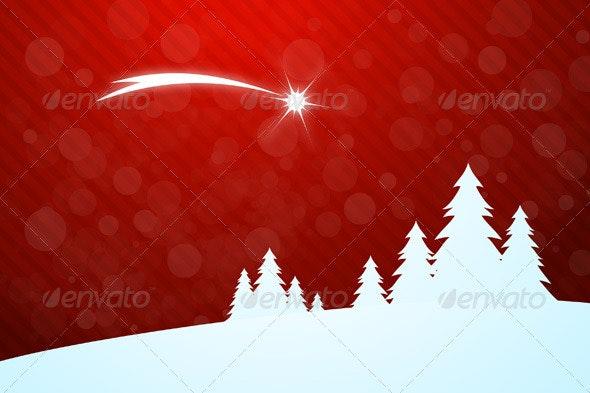 Christmas Greeting Card with Star - Christmas Seasons/Holidays