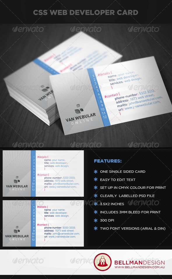 CSS Web Developer - Industry Specific Business Cards