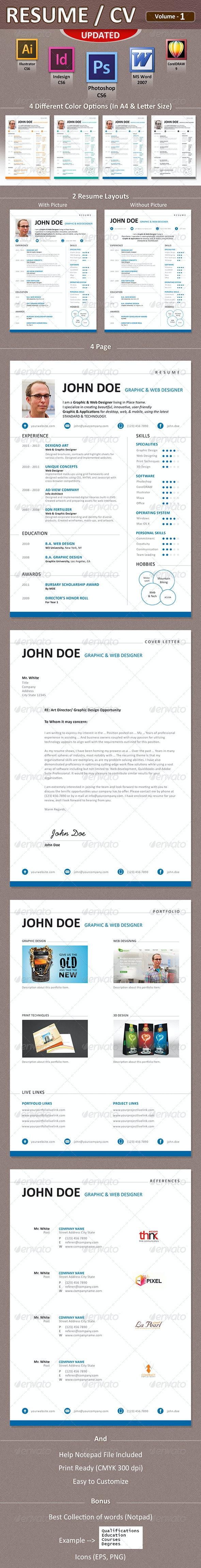 Resume / CV / Curriculum Vitae - Print Templates