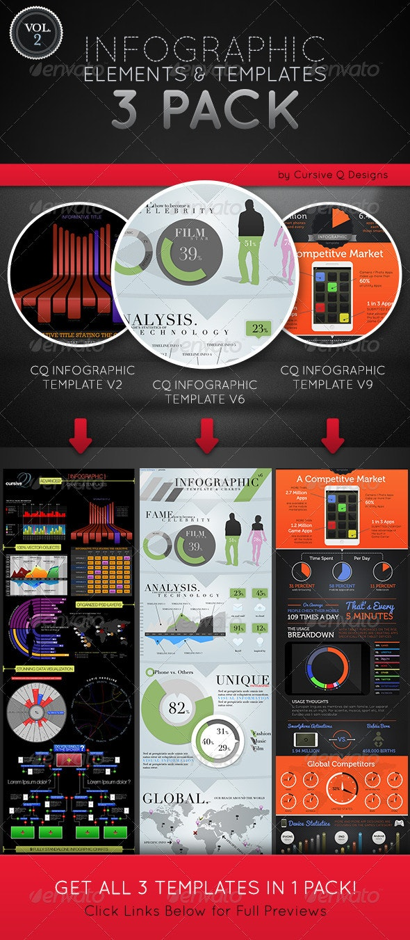 Infographic Elements and Templates 3 Pack Vol. 2 - Infographics