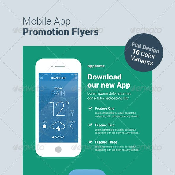 Mobile App Flyers - Flat Design