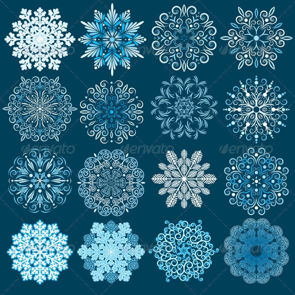 Decorative Snowflakes Vector Set. - Decorative Symbols Decorative