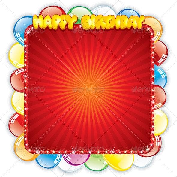 Happy Birthday Card. Festive Vector Template - Birthdays Seasons/Holidays