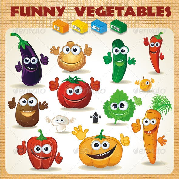 Funny Cartoon Vegetables Vector Clip Art