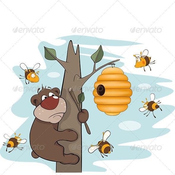 Bear Cub and Bees Cartoon