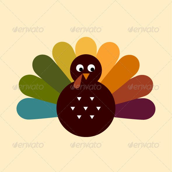 Retro Thanksgiving Turkey Isolated on Beige