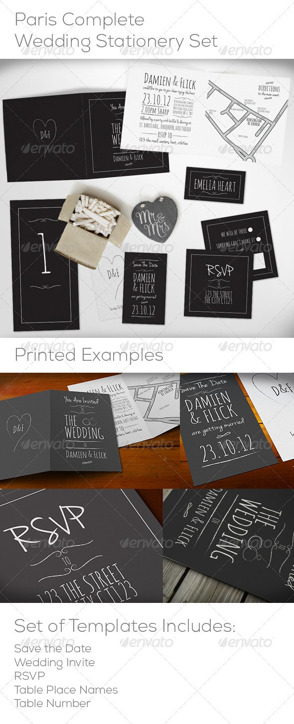 Chalk Board Complete Wedding Stationery Set - Weddings Cards & Invites