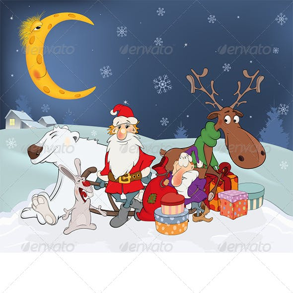 Santa Claus his Friends and Christmas Gifts