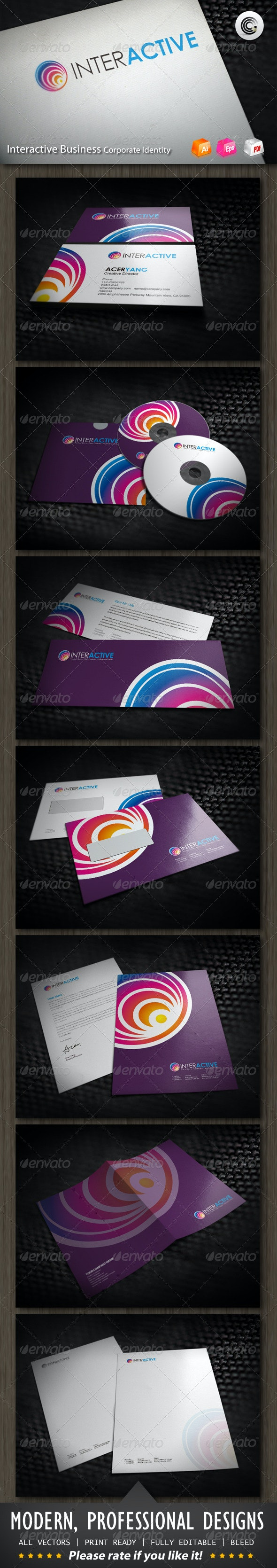 Interactive Media Business Corporate Identity - Stationery Print Templates