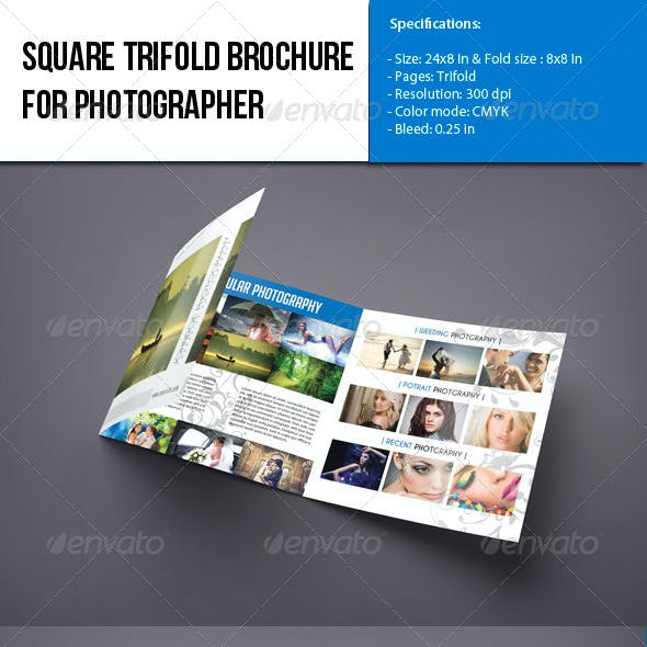 Square Trifold brochure-Photographer Portfolio