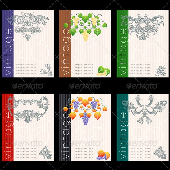 Wine Labels Design Template Set - Decorative Vectors