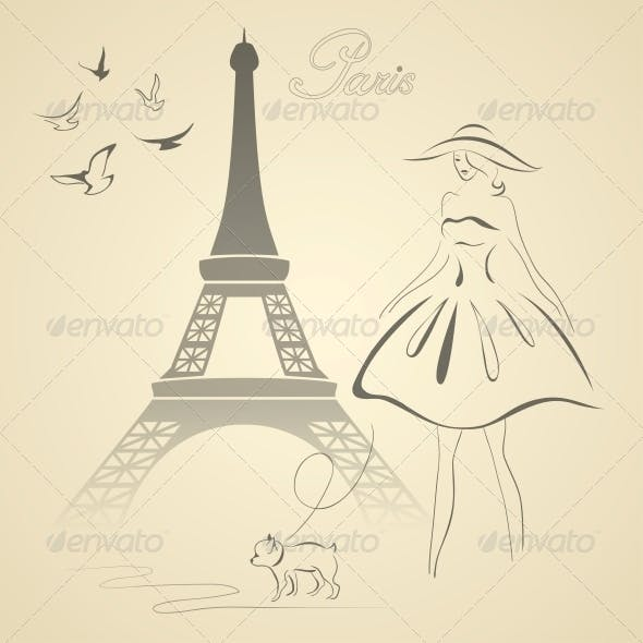 French Retro Style Vector Illustration