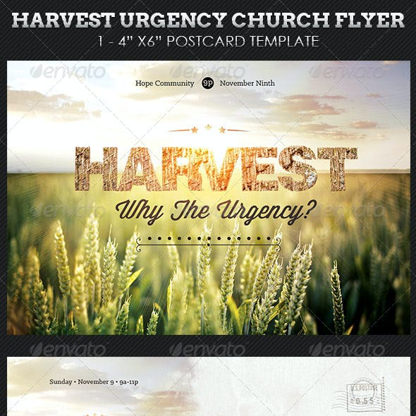 Harvest Urgency Church Flyer Postcard Template