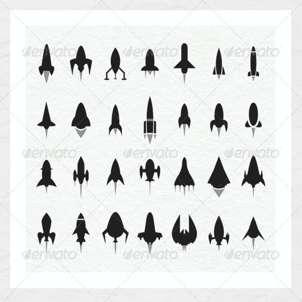 Rocket and Spaceship Silhouettes
