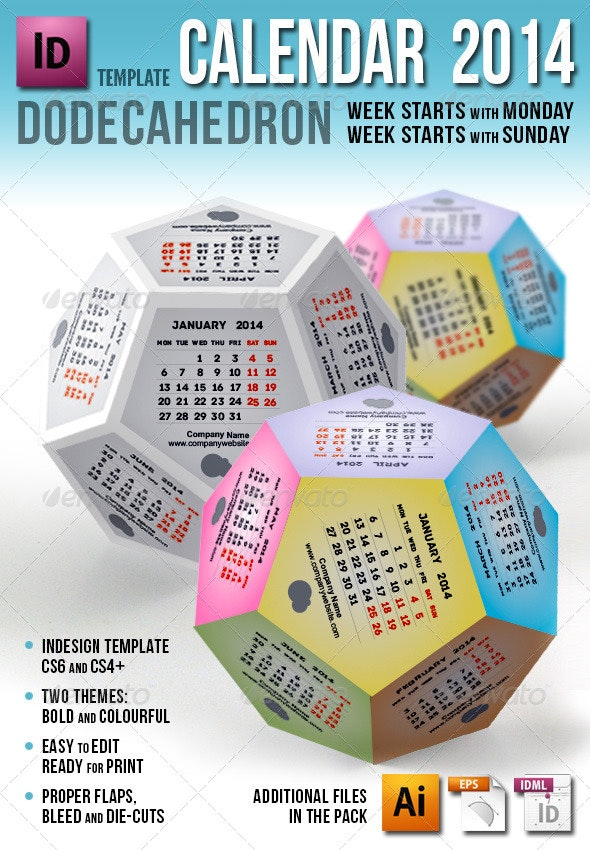 Calendar 2014 - Dodecahedron - Calendars Stationery