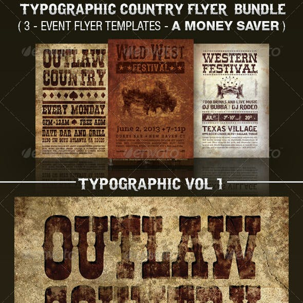 Country Western Flyer Templates Bundle Vol 1