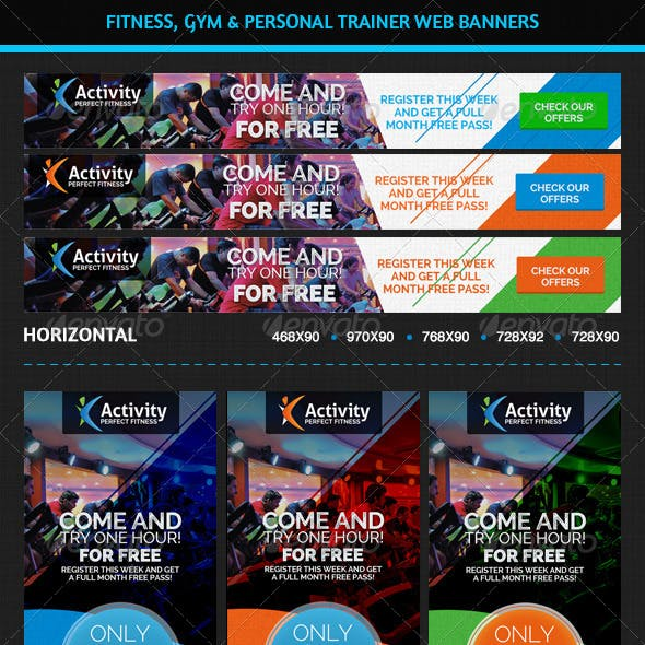 Fitness, Gym & Personal Trainer Web Banners