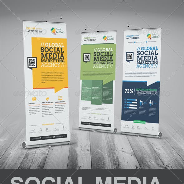 Social Media Marketing Roll-Up Banner